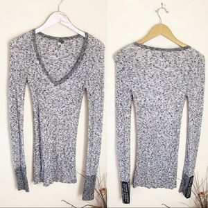 Free People RARE Freckles V Neck Grey Thermal Top